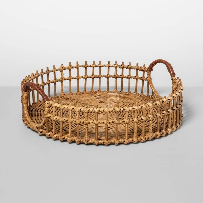 15  x 4.5  Round Rattan Tray with Leather Handles Natural - Opalhouse™
