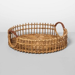 "15"" x 4.5"" Round Rattan Tray with Leather Handles Natural - Opalhouse™"
