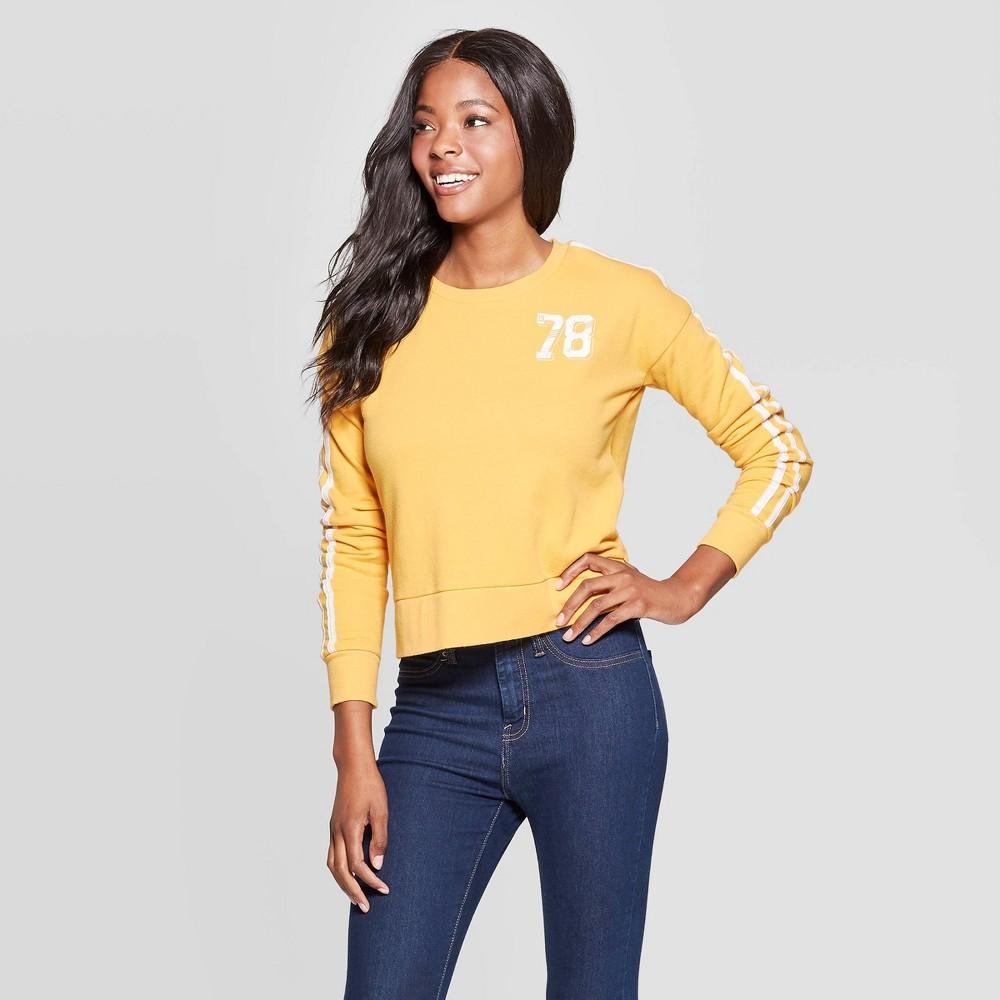 Image of Women's 78 Cropped Pullover Sweatshirt (Juniors') - Yellow XXL