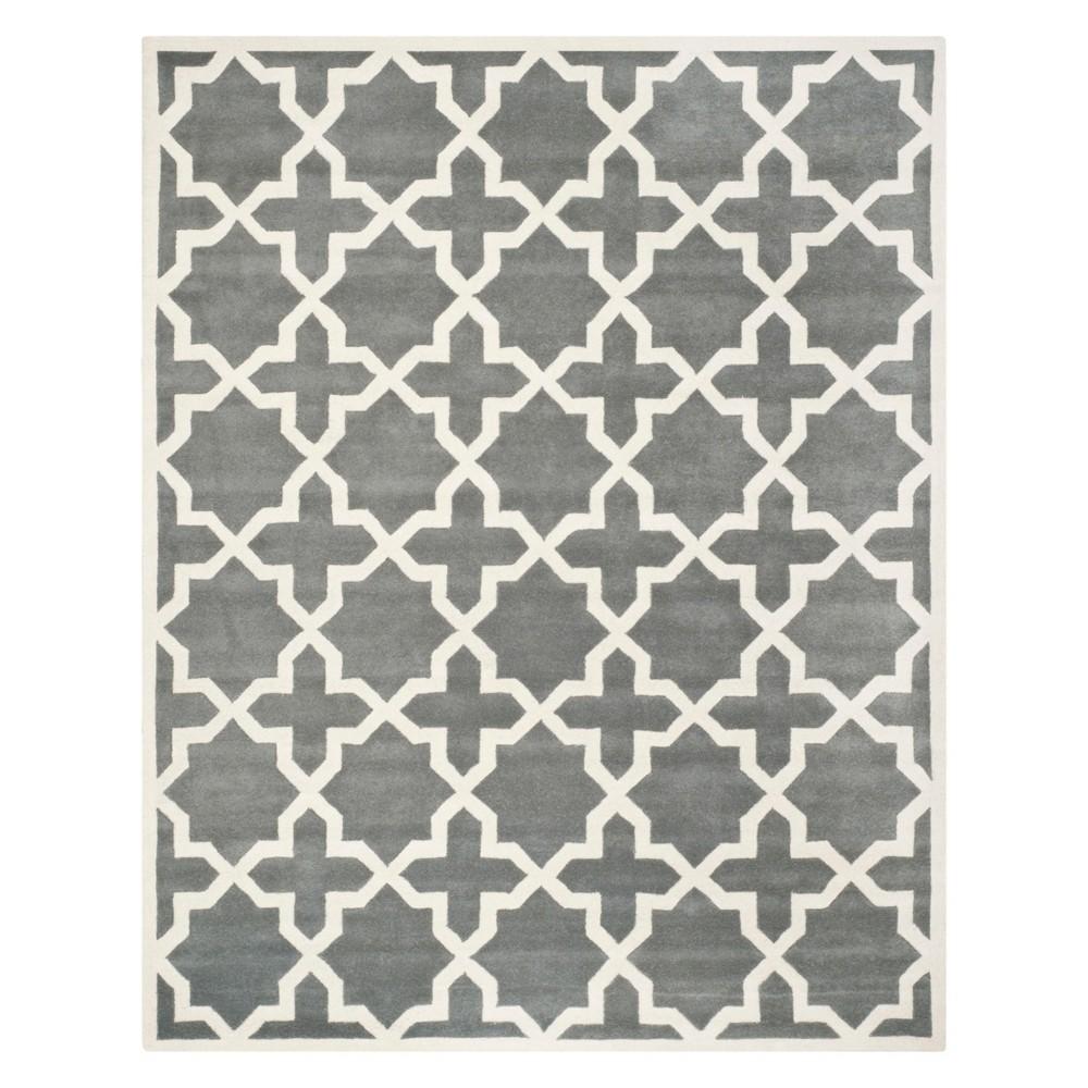Quatrefoil Design Tufted Area Rug Dark Gray/Ivory