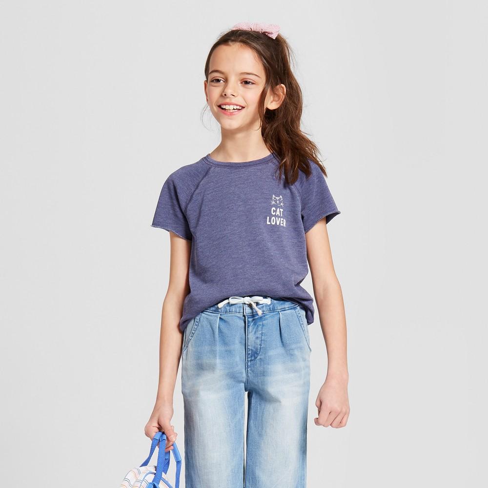 Grayson Social Girls' 'Cat Lover' Short Sleeve T-Shirt - Blue M