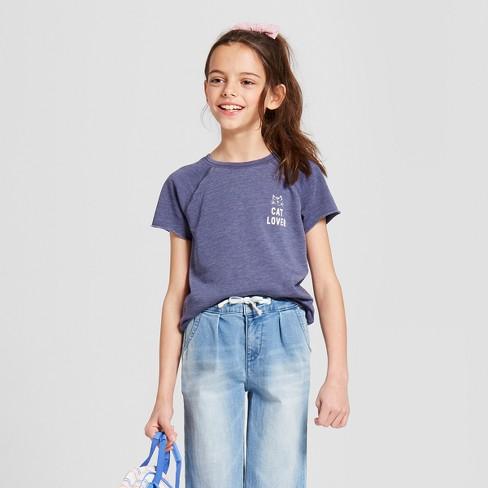 4ccfcfe5635 Grayson Social Girls   Cat Lover  Short Sleeve T-Shirt - Blue