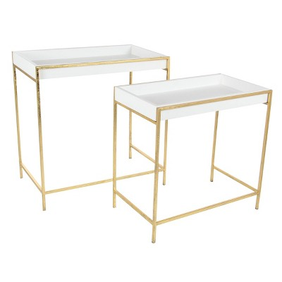 Set of 2 Contemporary Metal Console Tables Gold - Olivia & May