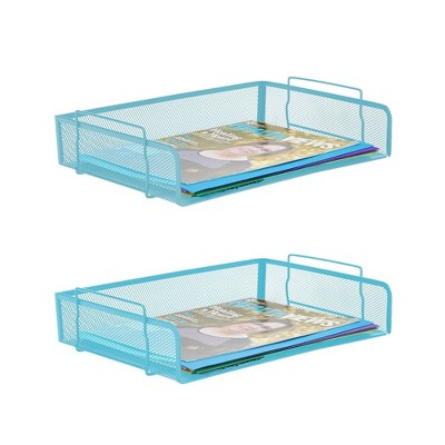 2pc Stackable Letter Tray Side Load Turquoise - Mind Reader