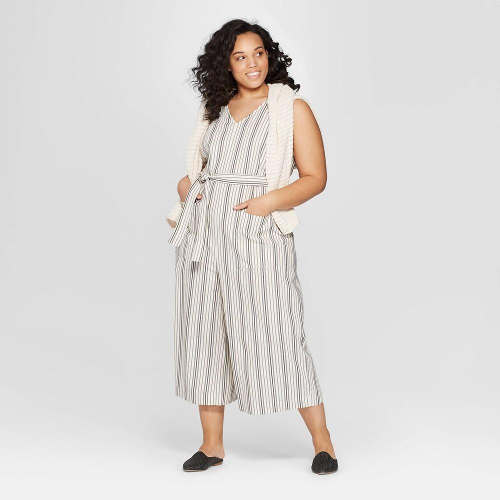 Women's Plus Size Striped Sleeveless V-Neck Jumpsuit - Universal Thread White 4X
