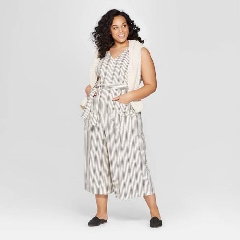 fe19bc0bb490 Women s Plus Size Striped Sleeveless V-Neck Jumpsuit - Universal Thread™  White