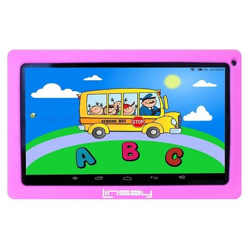 "LINSAY 10.1"" Kids Funny Tablet Quad Core Bundle with Pink Kids Defender Case 16GB - image 1 of 3"