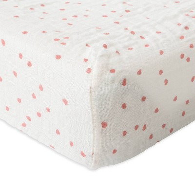 Red Rover Cotton Muslin Changing Pad Cover - Cherry Petals