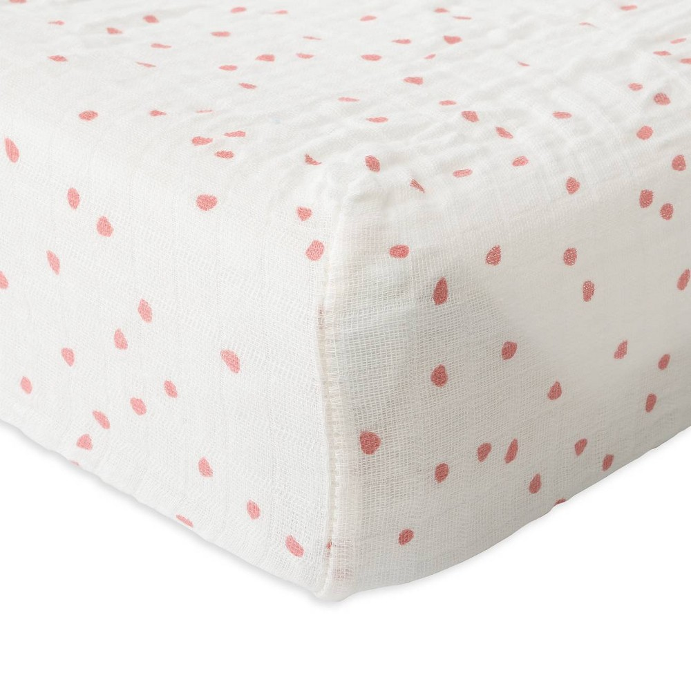 Image of Red Rover Cotton Muslin Changing Pad Cover - Cherry Petals, Red Petals