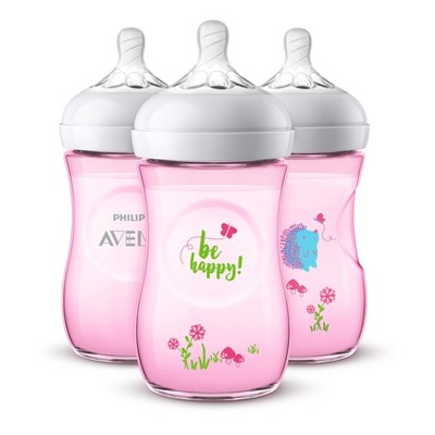 Philips Avent 3pk Natural Baby Bottle 9oz - Deco Pink