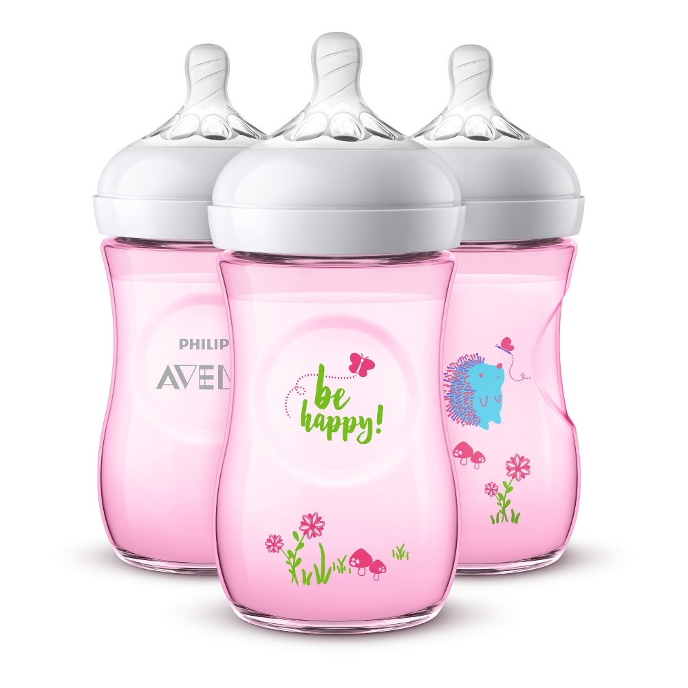 Image of Philips Avent 3pk Natural Baby Bottle 9oz - Deco Pink