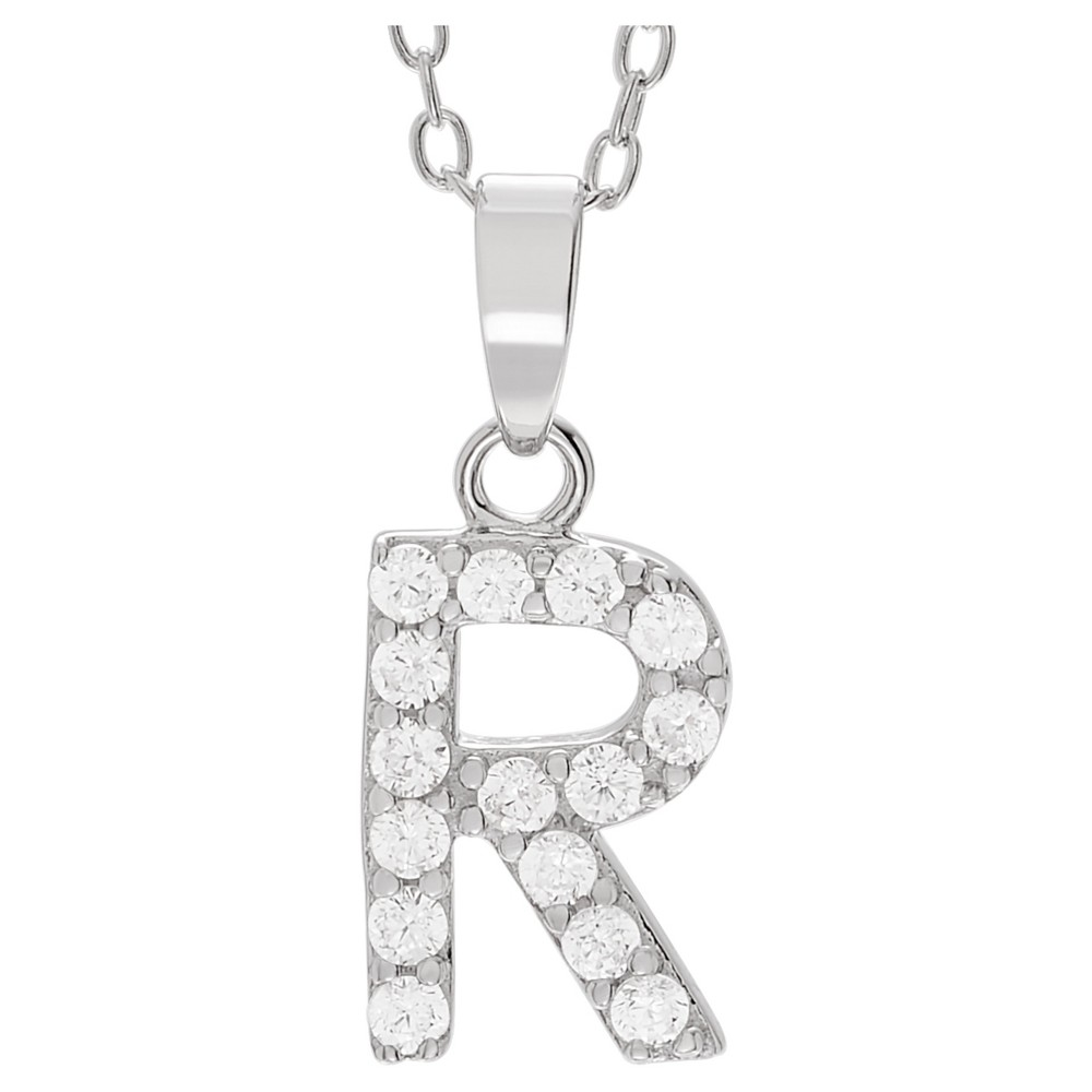 1/5 CT. T.W. Round-cut CZ Initial Pave Set Pendant Necklace in Sterling Silver - Silver, R (18), Girl's, Size: Small, Silver Letter - R