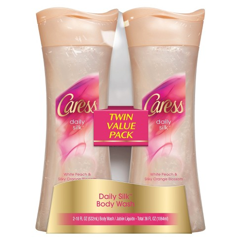 Caress® Daily Silk White Peach and Silky Orange Blossom Body Wash 18 oz, Twin Pack - image 1 of 6