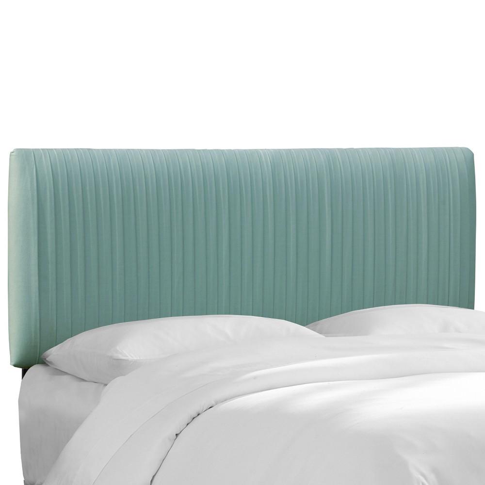 Full Skylar Upholstered Pleated Headboard Teal Velvet - Cloth & Co.