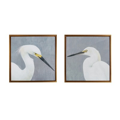 Seabird Thoughts Gel Coat Canvas 2pc Decorative Wall Art Set Natural