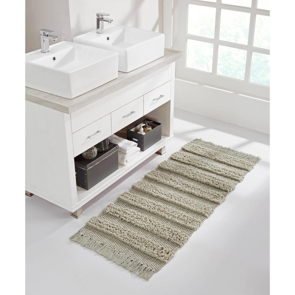 Savannah Cotton Fringe Bath Runner Taupe Vcny