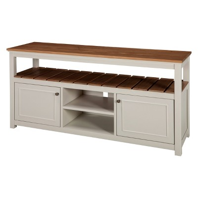 Savannah TV Cabinet Ivory With Natural Wood Top - Bolton Furniture
