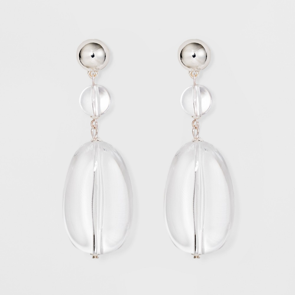 Metal Domed Post and Acrylic Ball Hanging with Acrylic Bead Earrings - A New Day Silver