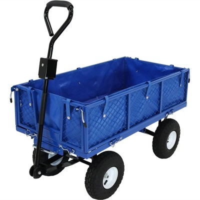 Sunnydaze Outdoor Lawn and Garden Heavy-Duty Steel Dump Cart with Removable Sides and Weather-Resistant Polyester Liner - Blue