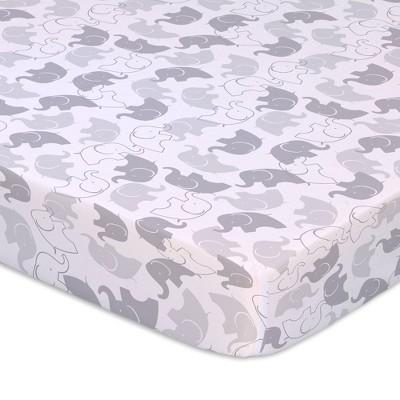 The Peanutshell Playard Sheets - Gray Elephants/Stripe 2pk