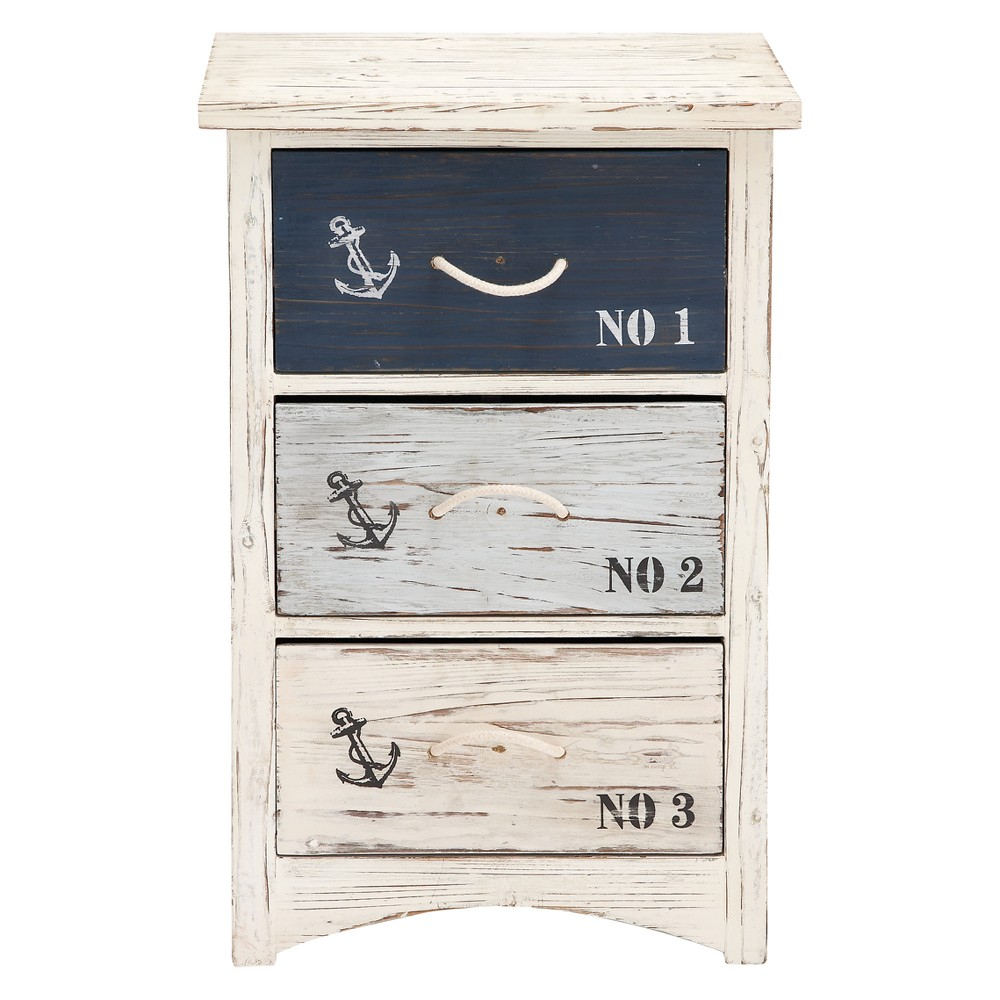 Wood 3 Drawer Chest White - Olivia & May