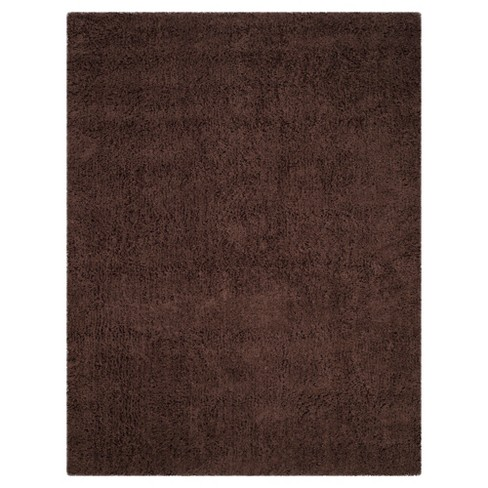 Chocolate Solid Shag and Flokati Tufted Accent Rug 3'X5' - Safavieh - image 1 of 2
