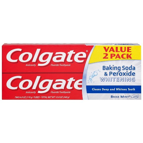 Colgate Baking Soda and Peroxide Whitening Toothpaste Brisk Mint - 6oz/2pk - image 1 of 4