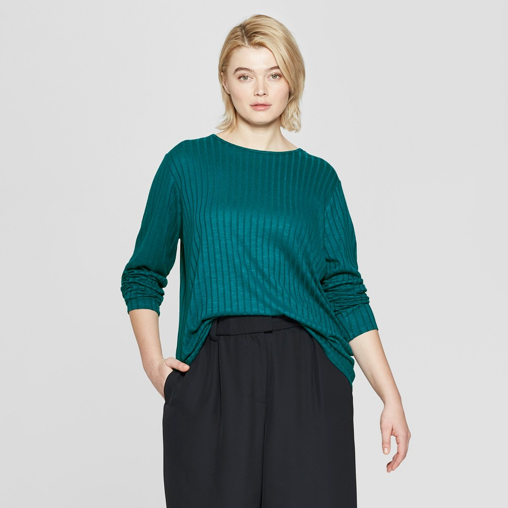 5da391abb9f4 Womens Plus Size Essential Long Sleeve Crew Neck T Shirt Prologue Teal Blue  1X
