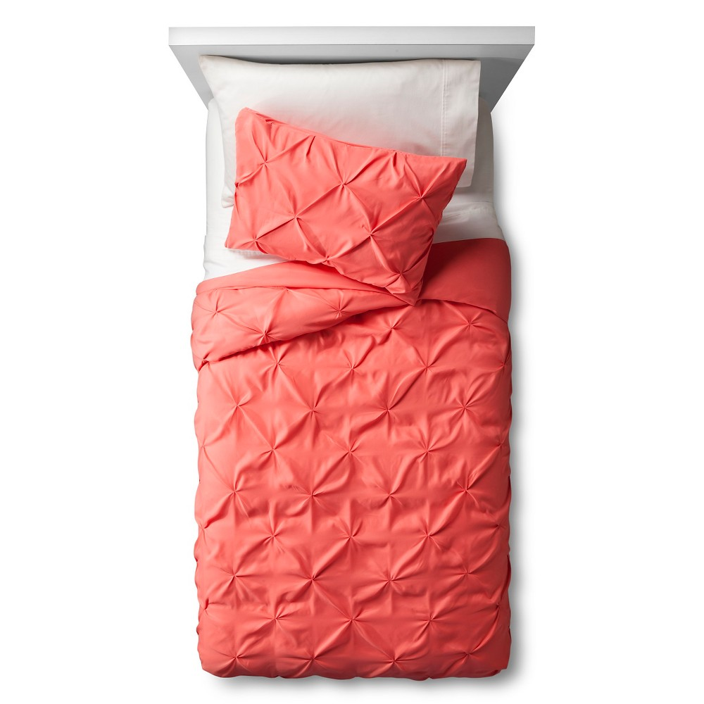 Pinch Pleat Duvet Cover Set Full/Queen Coral 3pc - Pillowfort, Fresh Melon