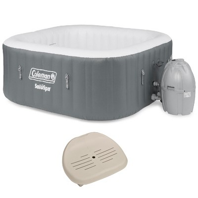 Coleman SaluSpa 4 Person Square Inflatable Outdoor Hot Tub & Inflatable Seat