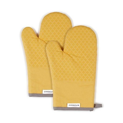 KitchenAid 2pk Cotton Asteroid Oven Mitts Yellow