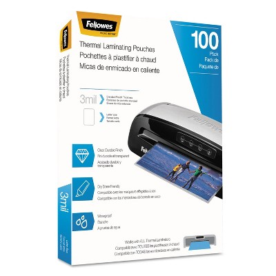 Fellowes Laminating Pouches Letter Size Hot Pouch 9 x 11.5 3 mil 100 pack 5743301