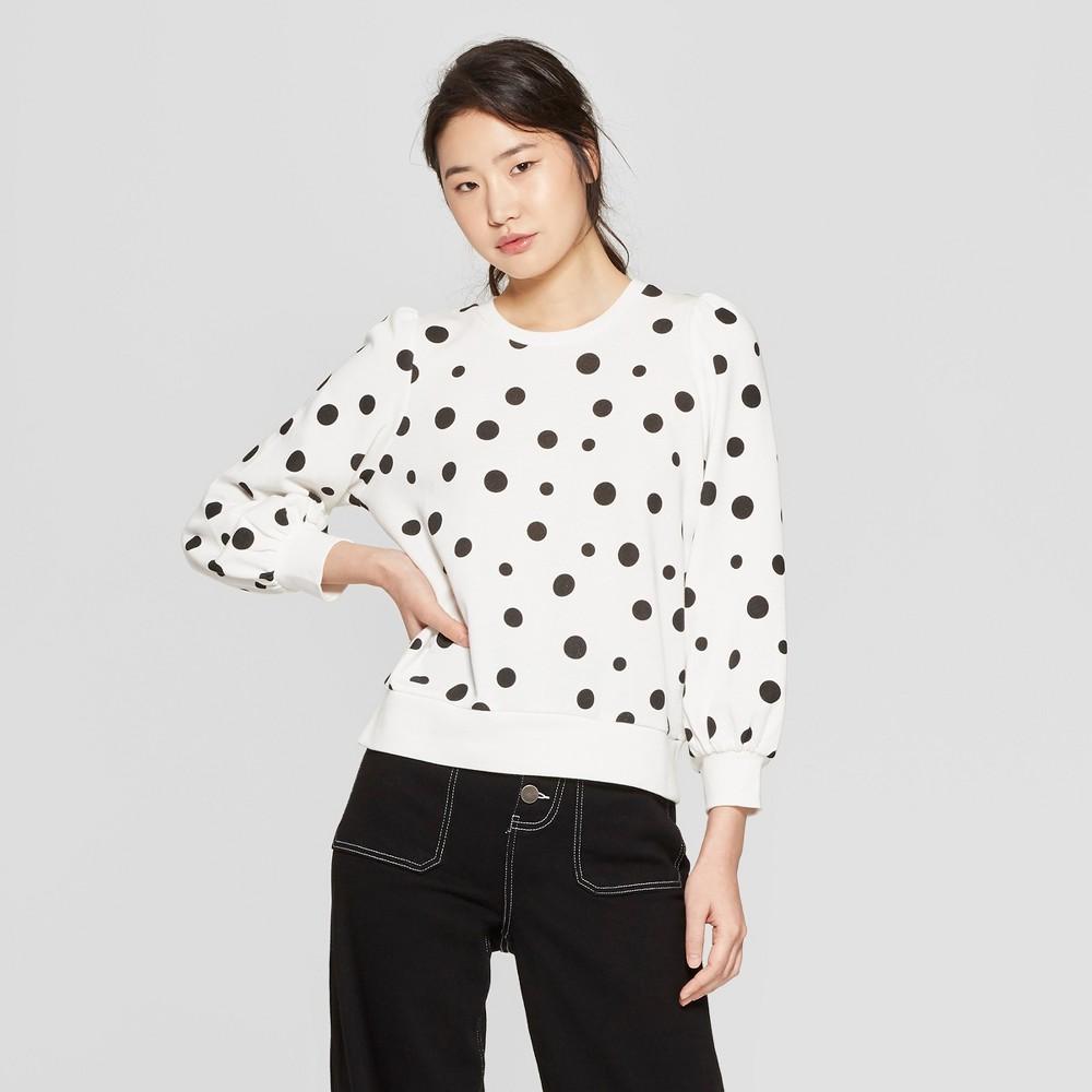 Women's Polka Dot Long Sleeve Sweatshirt - Who What Wear White/Black XS