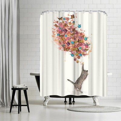 "Americanflat Catching Butterflies by Laura Grave 71"" x 74"" Shower Curtain"