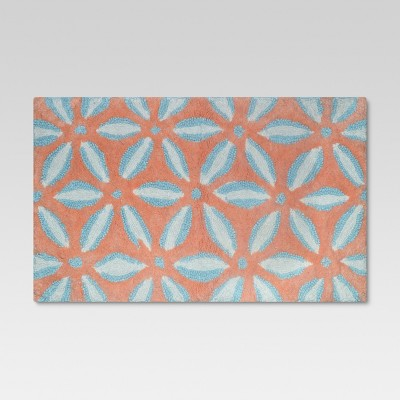 Geo Floral Bath Rug Coral/Blue - Threshold™