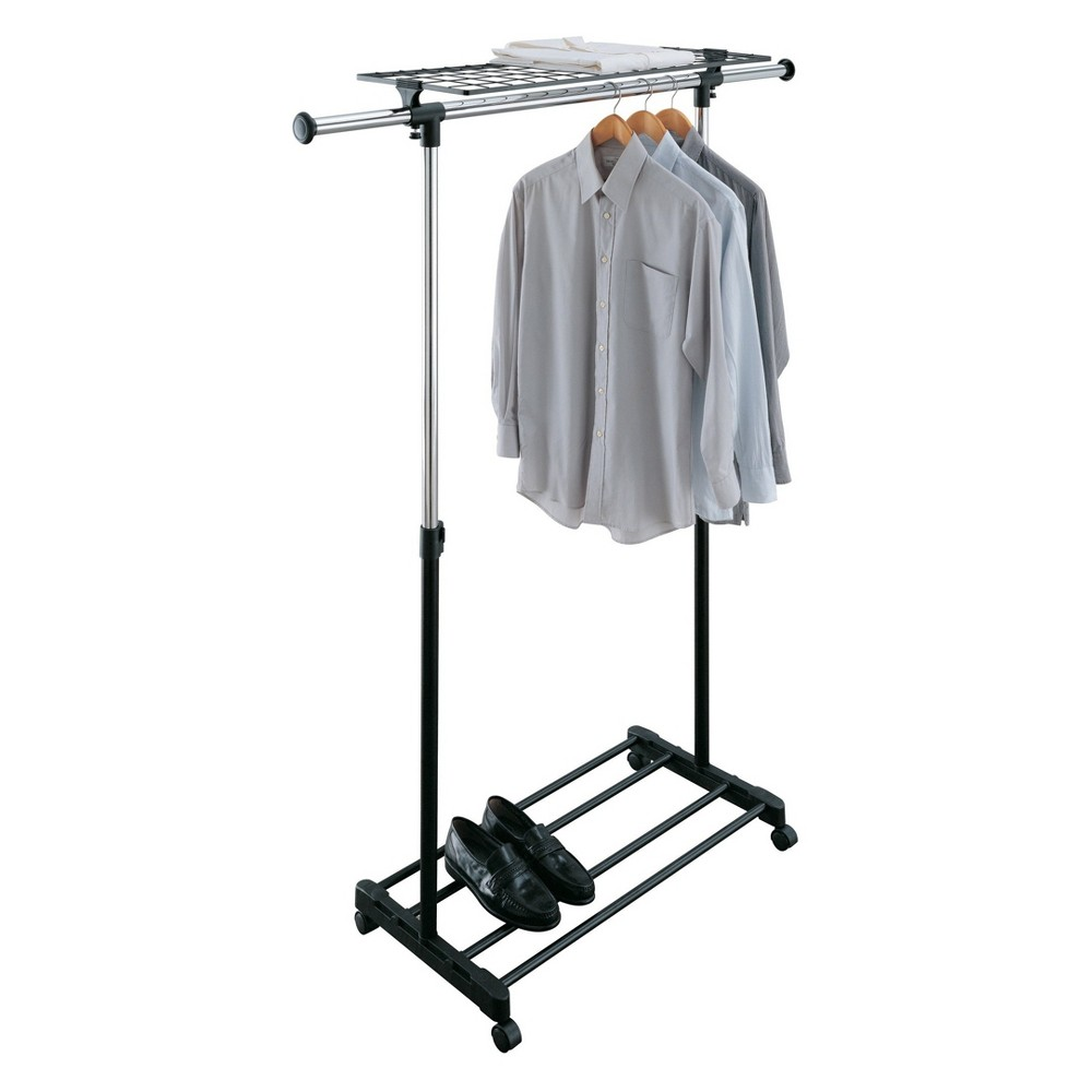 Neu Home Adjustable Garment Rack With Shelf Shiney Silver The Adjustable Garment Rack with shelf and wheels by Neu Home can help you keep your clothing neat and organized. The height can be adjusted to accommodate your items. Dual shelf with telescopic hanging rod offers extra storage capacity. Color: Shiney Silver.