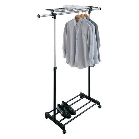 Neu Home Adjustable Garment Rack With Shelf Shiney Silver - image 1 of 6