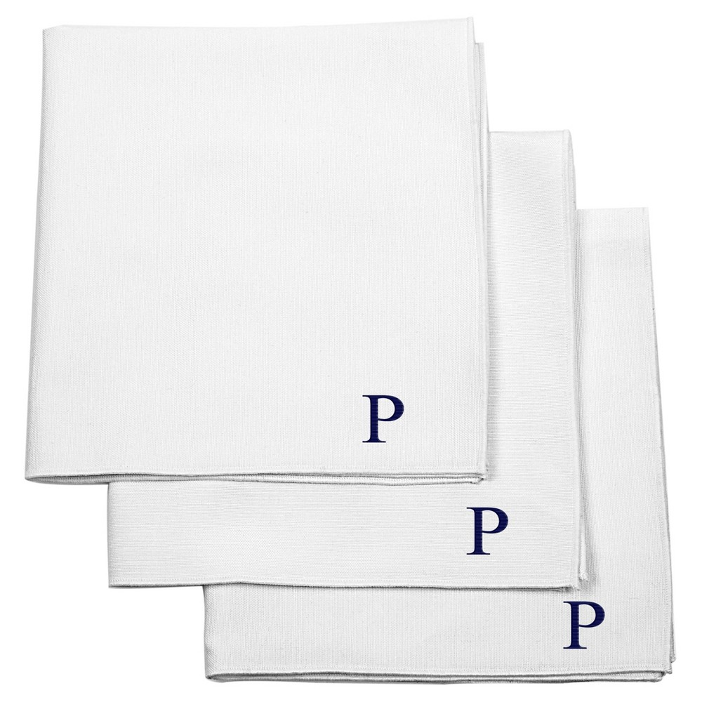Monogram Groomsmen Gift Handkerchief Set - P, White
