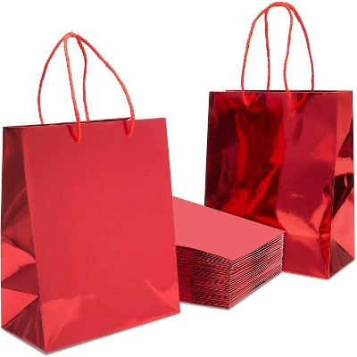 24 Pack Red Paper Gift Bags with Handles for Birthday Party, Wedding and Baby Shower