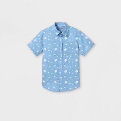 Boys' Button-Down Short Sleeve Shirt - Cat & Jack™ Light Blue