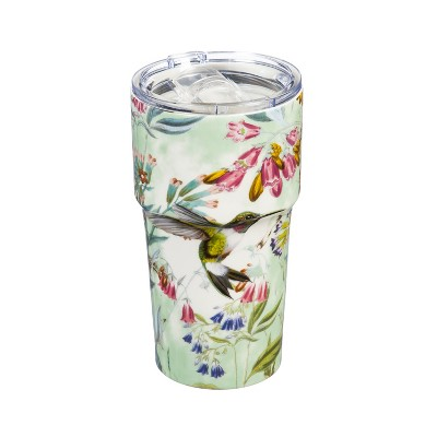 Cypress Home Double Wall Ceramic Companion Cup with Tritan Lid, 13 OZ, Paradise Pond