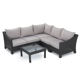 Antibes 6pc Wicker V-Shaped Sectional Sofa Set Gray/Silver - Christopher Knight Home