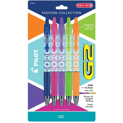Pilot 5ct G2 Fashion Collection Retractable Gel Ink Pens Fine Point 0.7mm