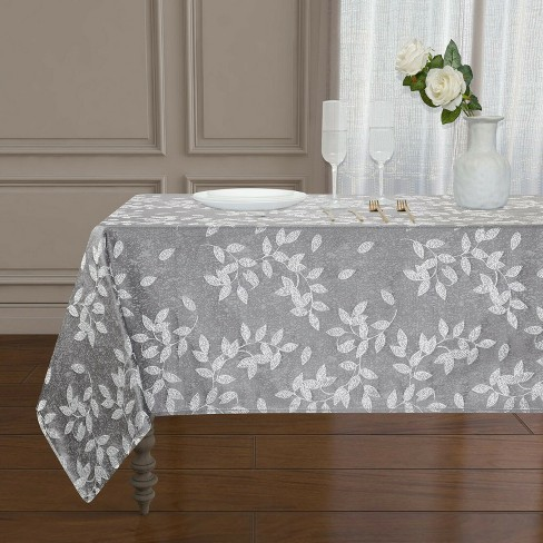 Kate Aurora Living Raised Jacquard Floral Leaves Spill Proof Fabric Tablecloth - image 1 of 1