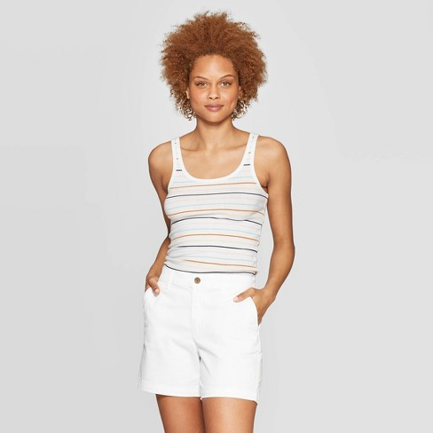 Women's Striped Slim Fit Scoop Neck Tank Top - A New Day™ White - image 1 of 3