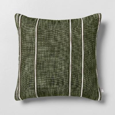 "18"" x 18"" Stripe Pattern Throw Pillow Dark Green - Hearth & Hand™ with Magnolia"