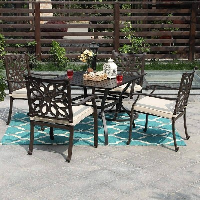 5pc Outdoor Cast Aluminum Extra Wide Chairs with Cushions & Metal Table - Brown - Captiva Designs