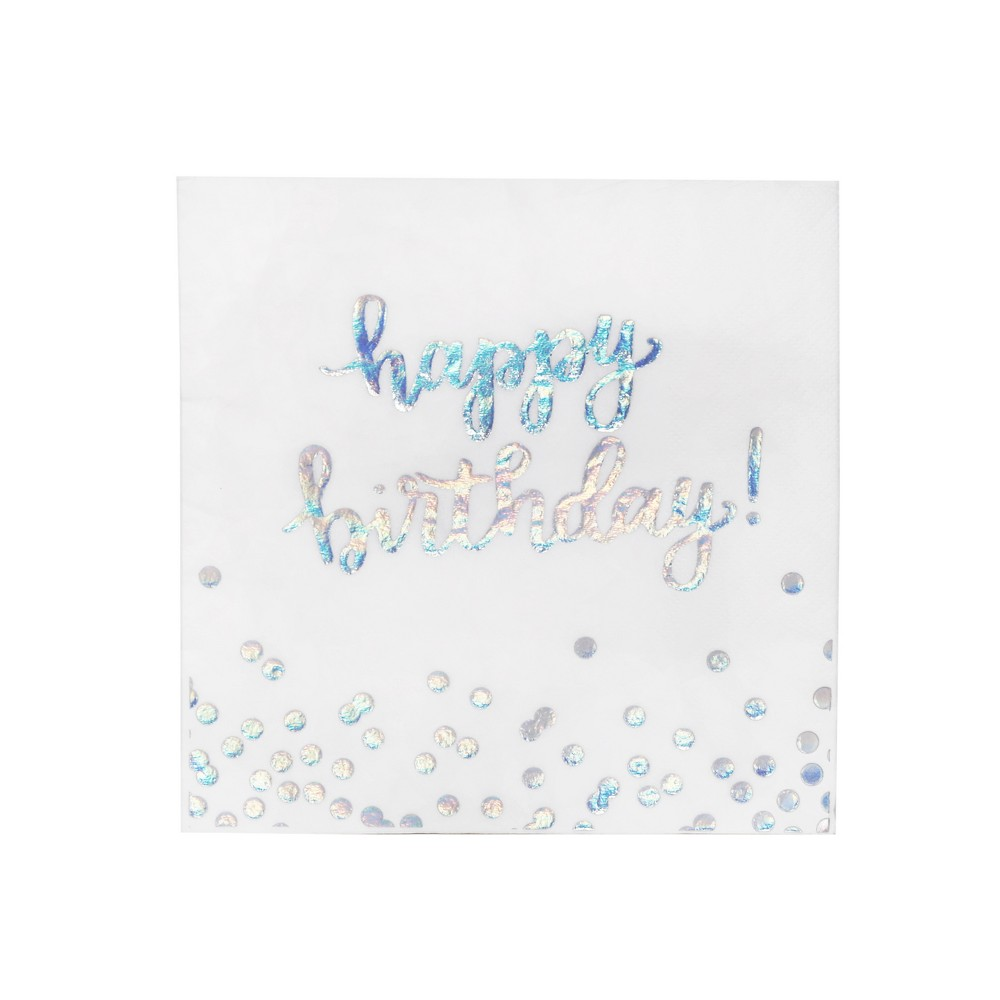 Holographic Disposable Lunch Napkin White - Spritz