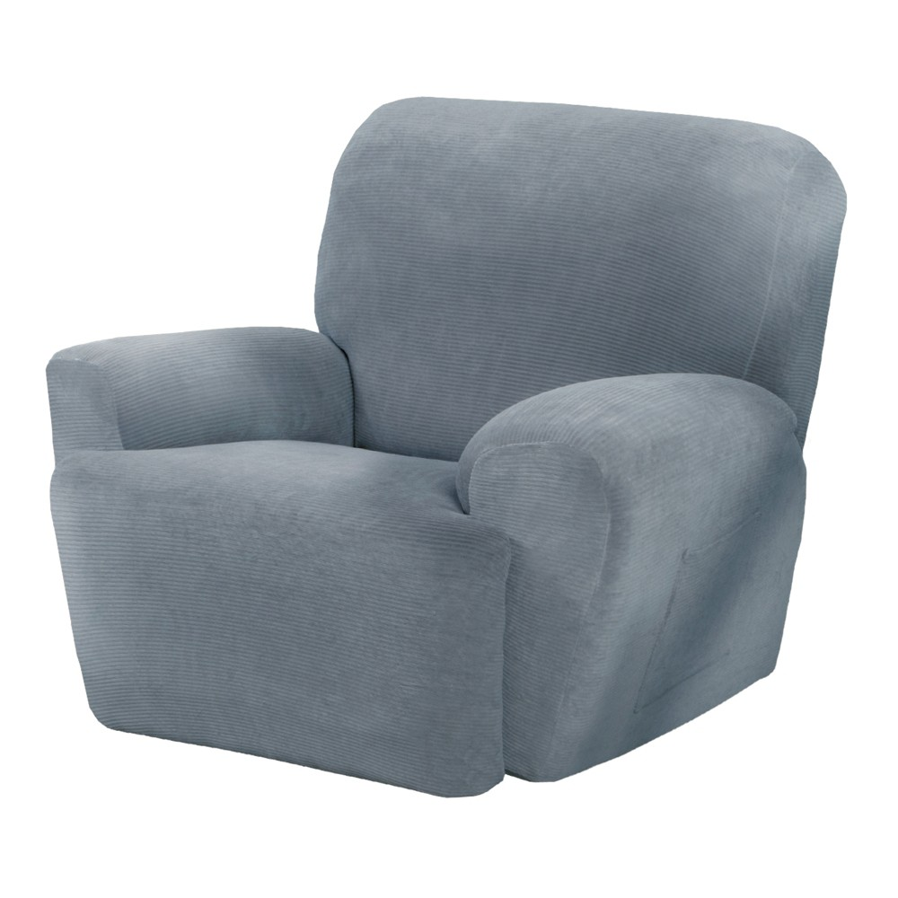 Image of Blue Collin Stretch Recliner Slipcover (4 Piece) - Maytex