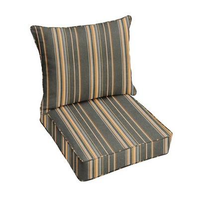 Sunbrella Stripe Outdoor Seat Cushion Gray/Orange